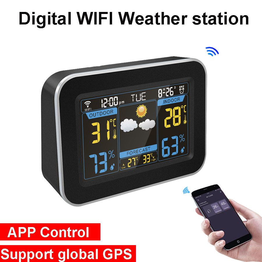 Digital Wifi Weather Station Wireless Thermometer Hygrometer Weather Forecast Clock LCD Color Screen Display APP Control GPS image