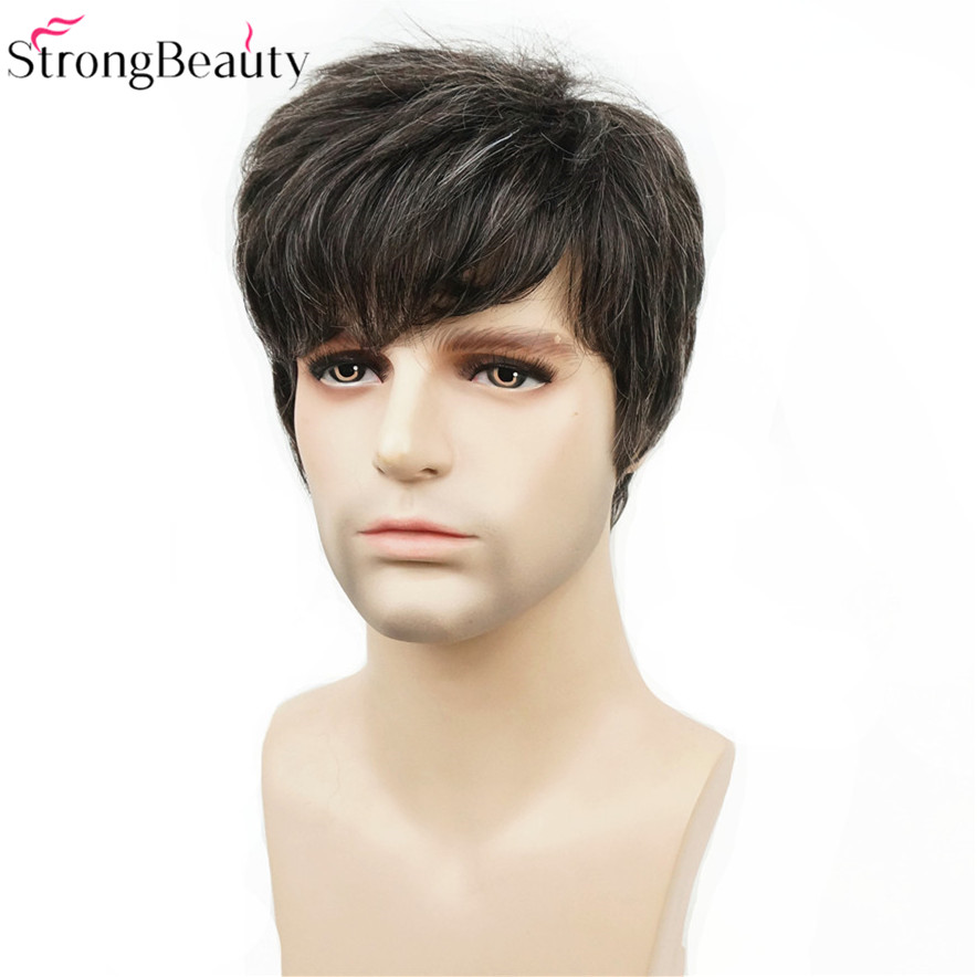 Strong Beauty Synthetic Short Men Wigs Natural Body Wave Heat Resistant Capless Wig