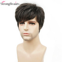 Strong Beauty Synthetic Short Men Wigs Natural Body Wave Heat Resistant Full Capless Wig