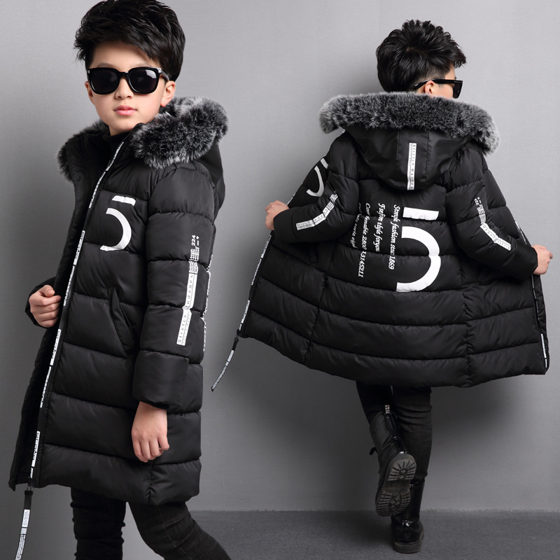1fb9dc92f Retail Winter New Boys Thickening Cotton Jackets Children Long ...