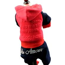 NEW Pink /Red Printed Pet clothes autumn winter dog teddy chihuahua Dog jumpsuit pet overalls XS S M L XL XXL