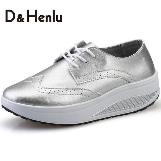 {D&H}Fashion  Spring/Autumn Sliver Shoes Women Casual Shoes Sport Fashion Walking Shoes Swing Wedges Shoes Woman Ankle Boots