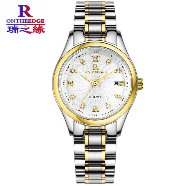 Ontheedge Stainless Steel Women Watch Date Function Gold Color Waterproof Bracel