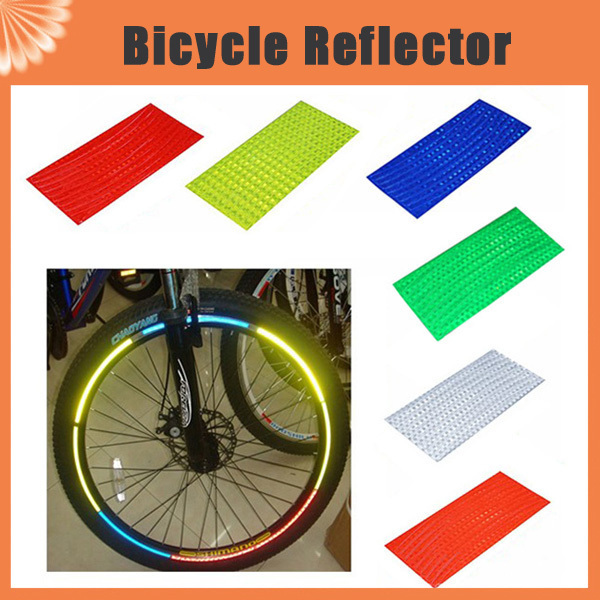 8pcs/pack Reflective Stickers Motorcycle Bicycle Reflector Bike Cycling Security Wheel R ...