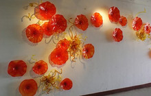 Free Air Shipping Luxury Hotel Deco Hand Blown Glass Cheap Wall Plates Art