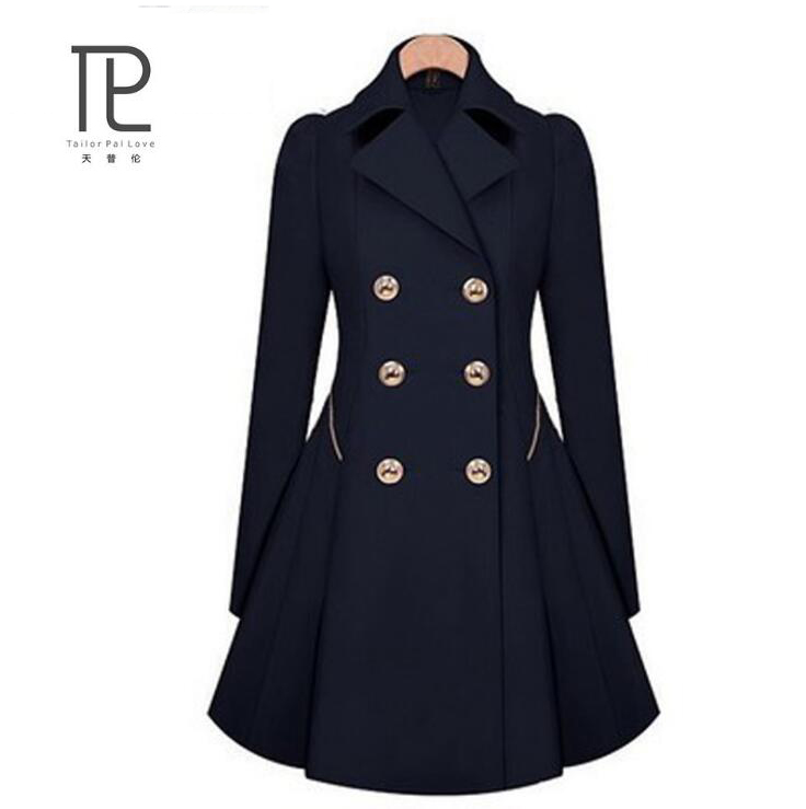 New Spring Coat Women Slim vadim with Double Button Navy Blue Solid Color Long Sleeves Tops Office Lady Winter   Trench   Outwear #c