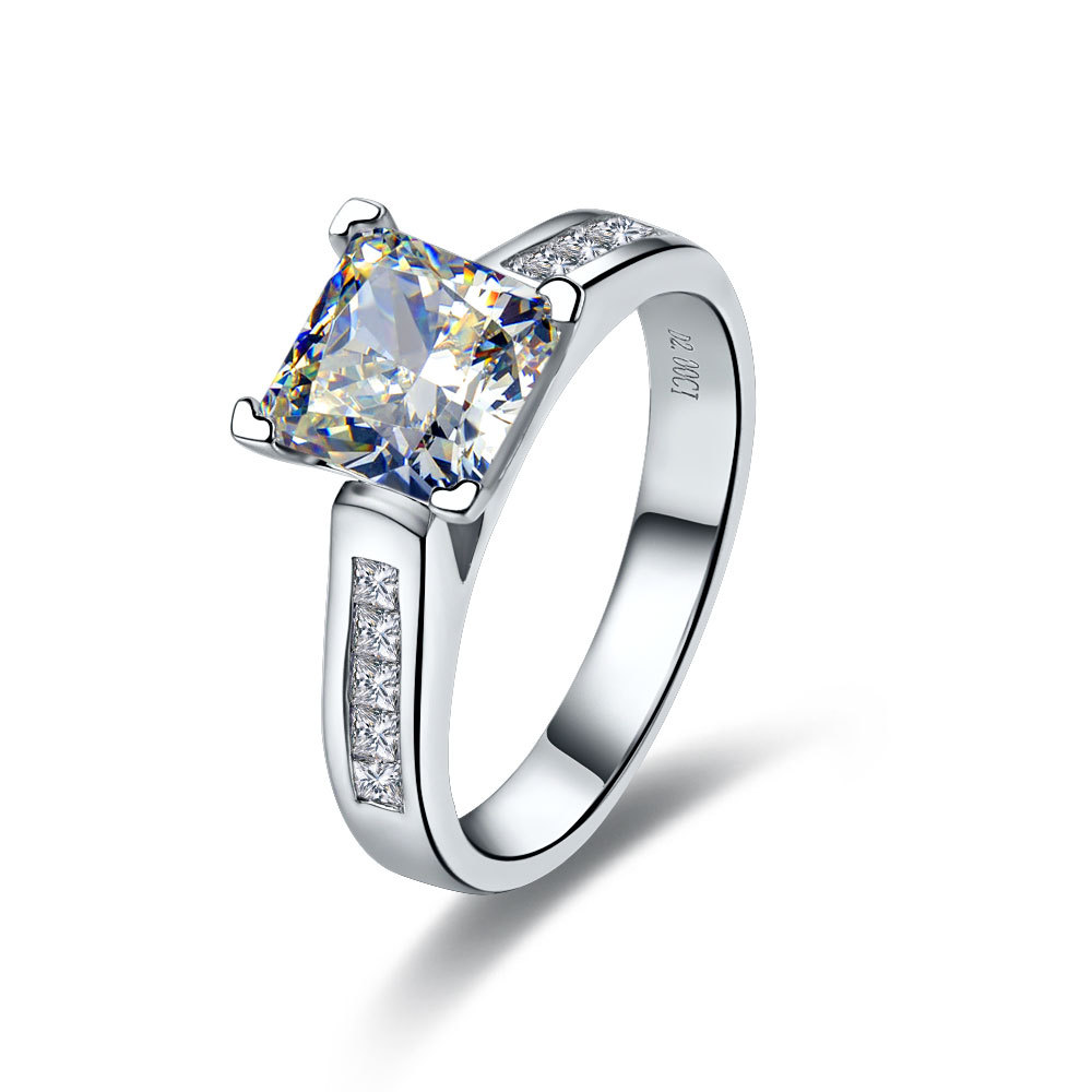 Solid White Gold Princess Wedding Ring Female 2ct Sona Simulate
