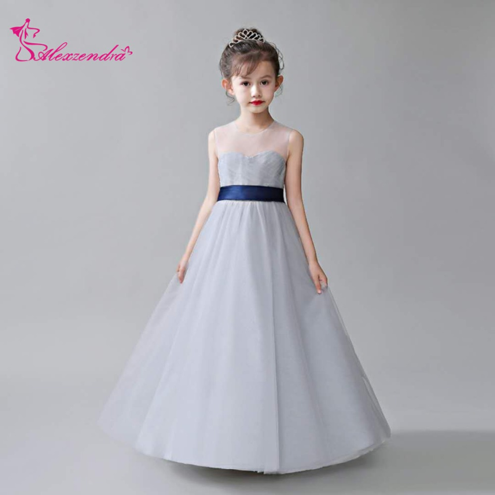 Alexzendra Gray Flower Girl Dresses with Belt Kids Evening Gowns For Wedding First Communion Dresses vestido comunion