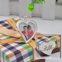 925 Silver Heart Photo Locket Customize Your Picture Stamp Your Handwriting Engraved Signature Necklace Couple Jewelry Gift