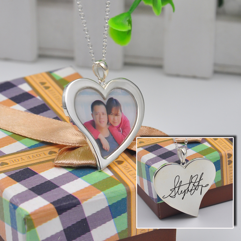 925 Silver Heart Photo Locket Necklace Customize Your Picture Stamp and Handwriting Engraved Necklace Couple Jewelry Gift
