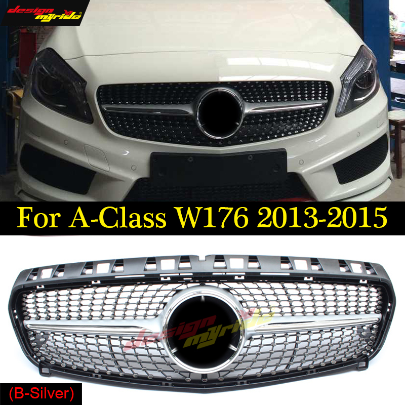 W176 Diamond Grille ABS Glossy Silver For Mercedes Benz A180 A200 A250 Grilles Without Emblem Badge ABS Replacement 2013-15W176 Diamond Grille ABS Glossy Silver For Mercedes Benz A180 A200 A250 Grilles Without Emblem Badge ABS Replacement 2013-15