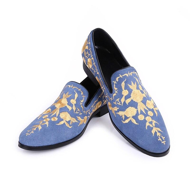 Homme Choudory Floral Couleur Chaussures Rond Bout Casual Brodé Sur As Rampante as Zapatos Pic Mocassins Hommes Pic Bleu Chaussure Hombre Glissement apdwa0x