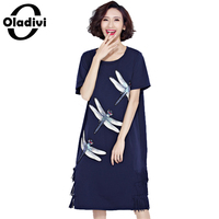 Oladivi Plus Size Women Clothing Fashion Pattern Animal Printing Tassel Dress Summer Style Cotton Shirt Dresses
