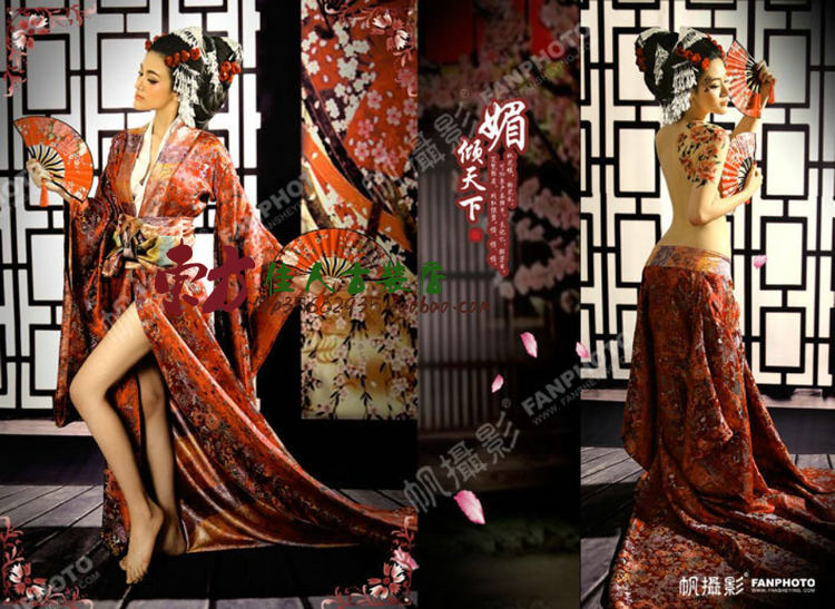 Mei Qing Tian Xia Sexy Japanese Geisha Kimono for Performance or Thematic Photography Costume Hanfu for Women-in Chinese Folk Dance from Novelty & Special Use    2