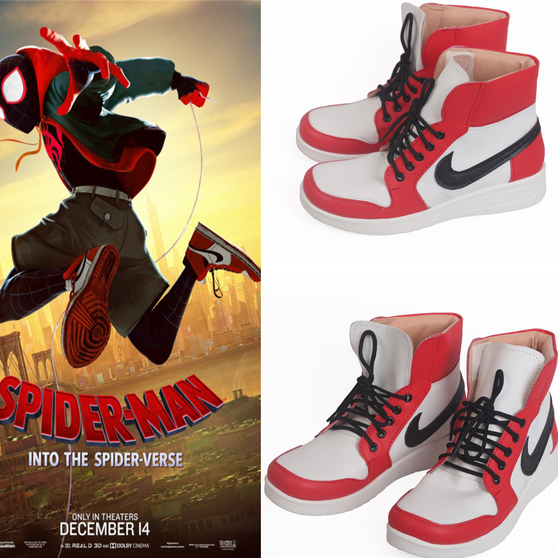 Movie Spider-Man Into the Spider-Verse Miles Morales Cosplay Shoes Boots Adult