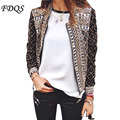 2015 new spring autumn women jacket Floral Printed Embroidery short Jacket Long Sleeve Outwear open stitch Coat chaquetas mujer