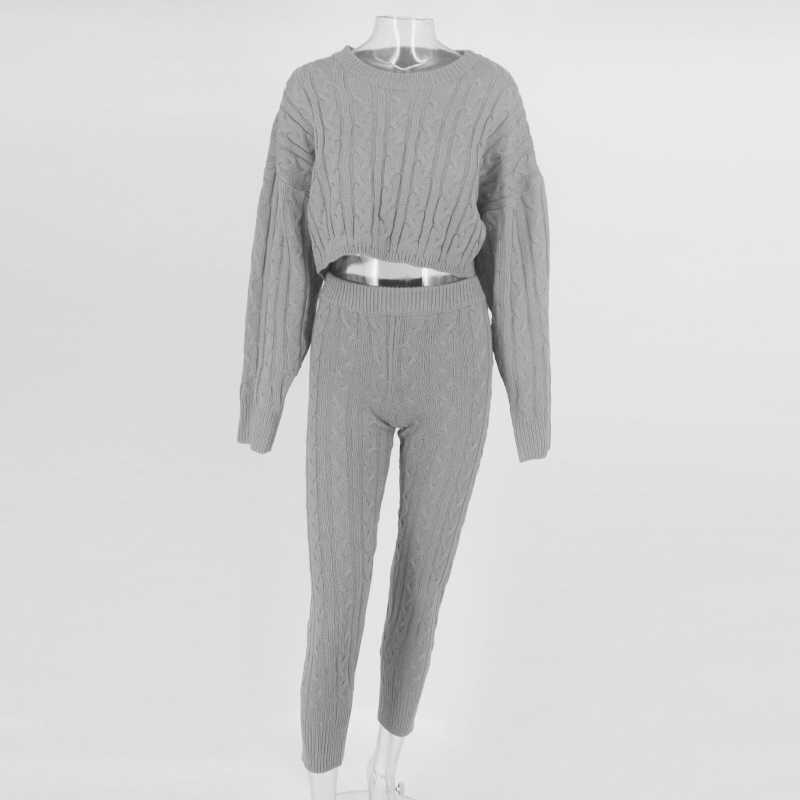 Justfrc pulôver de manga com cintura alta, calças de treino femininas, sexy, conjunto de duas peças, sólido, de malha