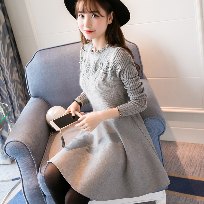 2xl plus big size women clothing dress 2017 spring autumn winter korean vestidos long sleeve gray
