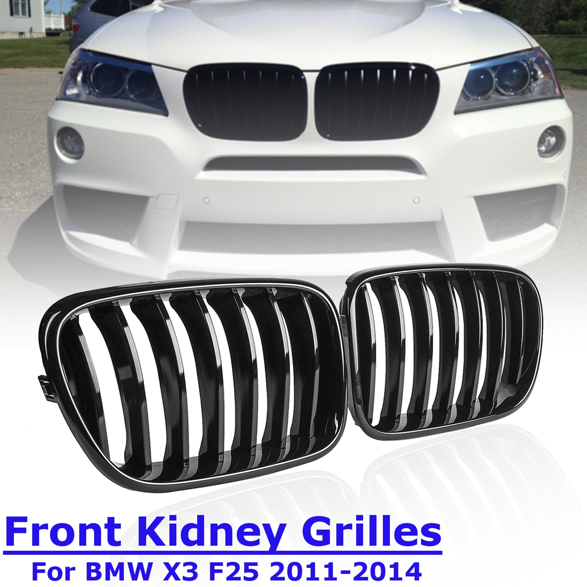 1Pair for BMW X3 F25 2011 2012 2013 2014 Front Kidney Grill Grille Matt Gloss Black M Color Replacement Racing Grills high power dimmable 189mm led r7s light 50w cob r7s led lamp with cooling fan replace 500w halogen lamp
