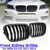 1Pair for BMW X3 F25 2011 2012 2013 2014 Front Kidney Grill Grille Matt Gloss Black M Color Replacement Racing Grills