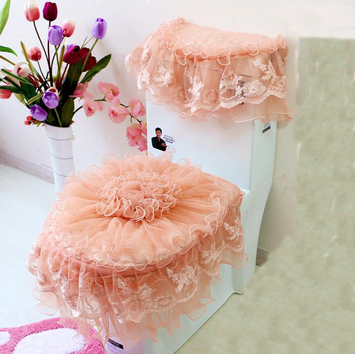 3PCS/set Lace Bathroom Toilet Cover Bathroom Closestool Seat Pad Tank  Cover(China (