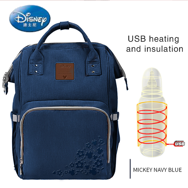 Disney USB Heating Diaper Bag Maternity Nappy Backpack Large Capacity Nursing Travel Backpack Heat Preservation DS8205