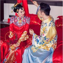 Christy Chung Same Item Chinese Traditional Wedding Couple Outfit cheongsam dress elegant long red gown Suzhou embroidery