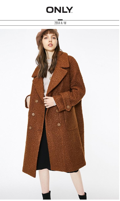 ONLY womens' winter new oatmeal Teddy hair long coat Loose version Rear slit hem design|118422505 5