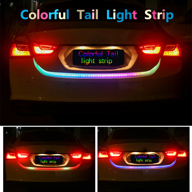 Raoping 2PCS Car Led Tail Light DRL Turn Signal Lights Trunk Strip Brake Reverse Warning Flash Lights Dynamic Streamer Colorful