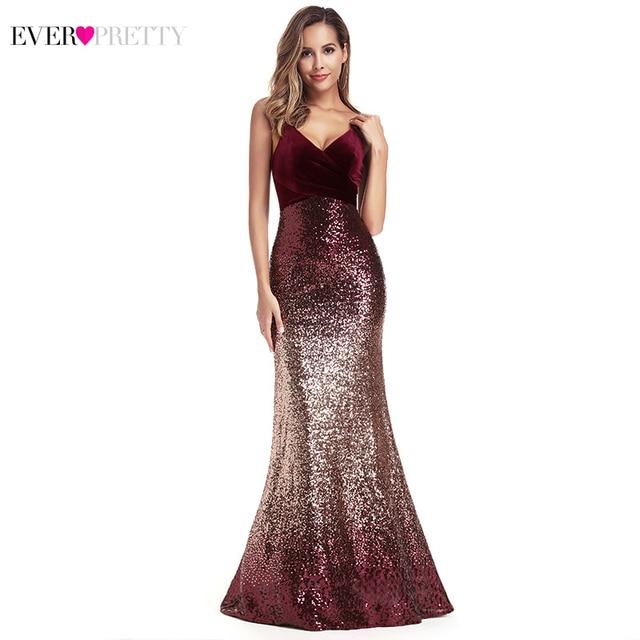 Ever Pretty Sequined Evening Dresses Mermaid Spaghetti Straps V-Neck Sexy Burgundy Long Formal Dresses Vestidos Compridos 2019