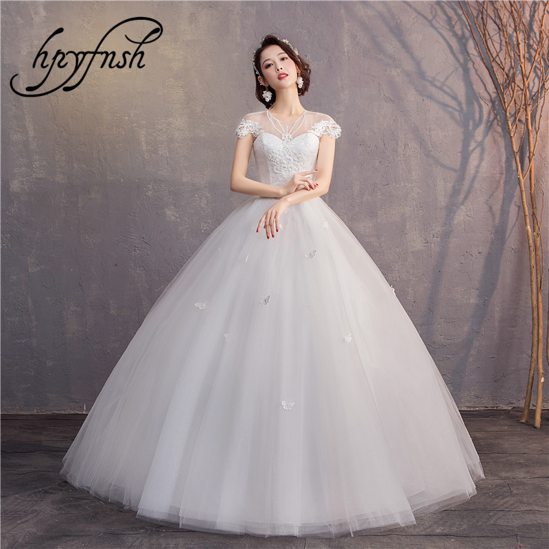 Short Cap Sleeve Illusion Wedding Dresses 2019 Custom Made Stereoscopic Flower Butterfly Vestido De Noiva Wedding