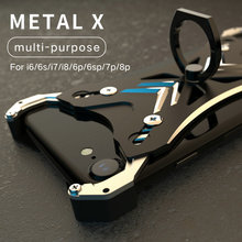 R-just X Shape Ring Holder case For iPhone X Personality Shell for iPhone 6s 7 8 plus Case Metal Bumper With Gift Glass Film