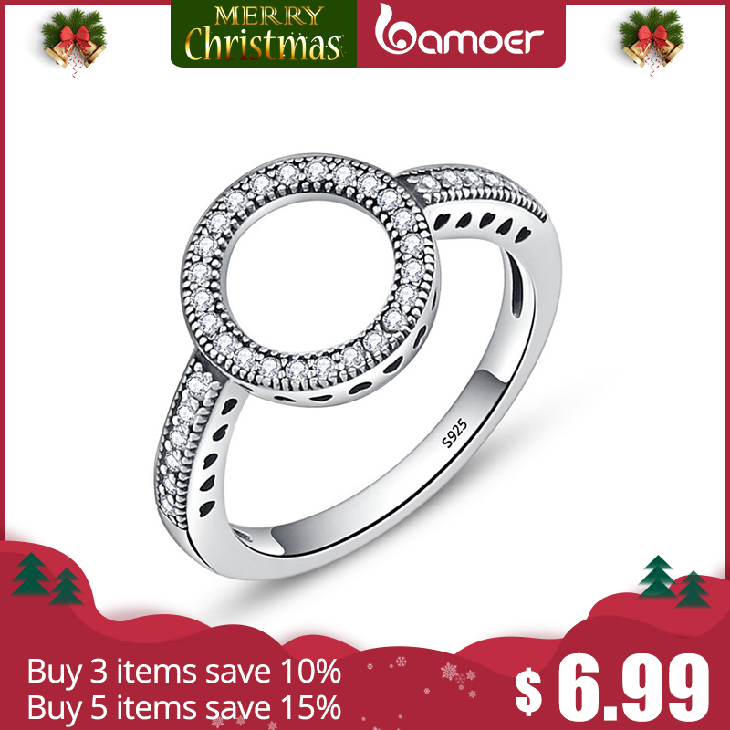BAMOER 100% Genuine 925 Sterling Silver Forever Clear Black CZ Circle Round Finger Rings for Women Jewelry Christmas Gift SCR041