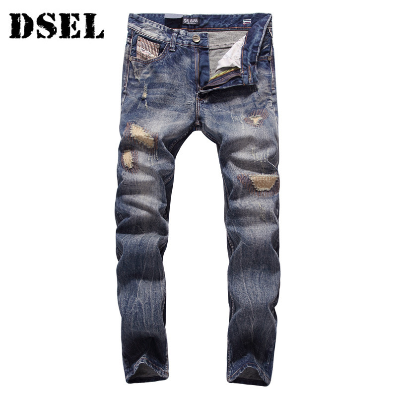 DSEL Fashion Jeans Men Slim Fit Denim Ripped Pants Quality Clothing Mid Stripe Men Biker Jeans Cotton classic mid stripe men s buttons jeans ripped slim fit denim pants male high quality vintage brand clothing moto jeans men rl617