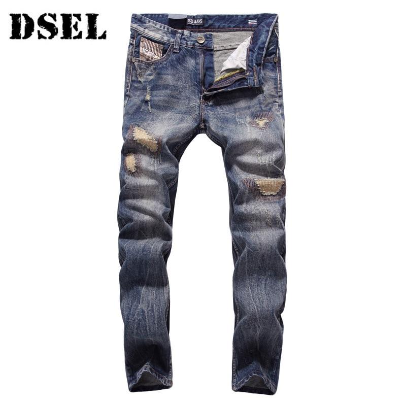DSEL Fashion Jeans Men Slim Fit Denim Ripped Pants Quality Clothing Mid Stripe Men Biker Jeans Cotton  2016 new dsel brand men jeans men fashion skinny jeans men men straight fit leisure quality cotton biker jeans denim