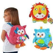 Lovely 3D Plush School Backpack 25cm Animal Ow Lion Plush Backpacks Baby Snack bag Soft Girls Boys Kids Dolls BP001