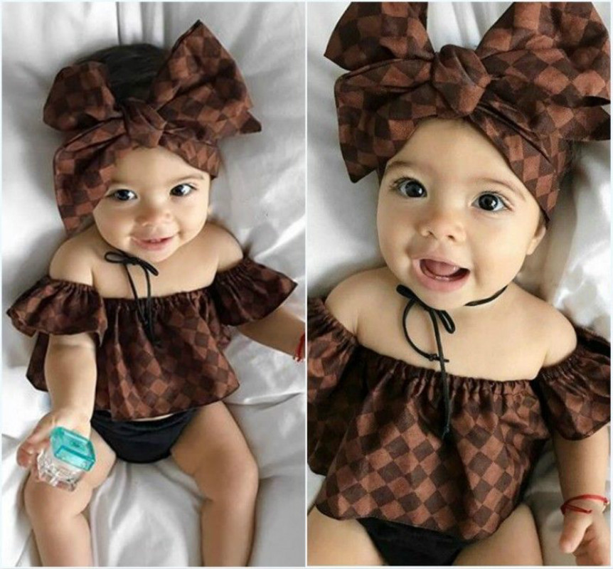 2017 New Cotton Newborn Baby Girl Off Shoulder Tops Headband Shorts Outfit Clothes Sets 0-24M 2pcs set newborn floral baby girl clothes 2017 summer sleeveless cotton ruffles romper baby bodysuit headband outfits sunsuit