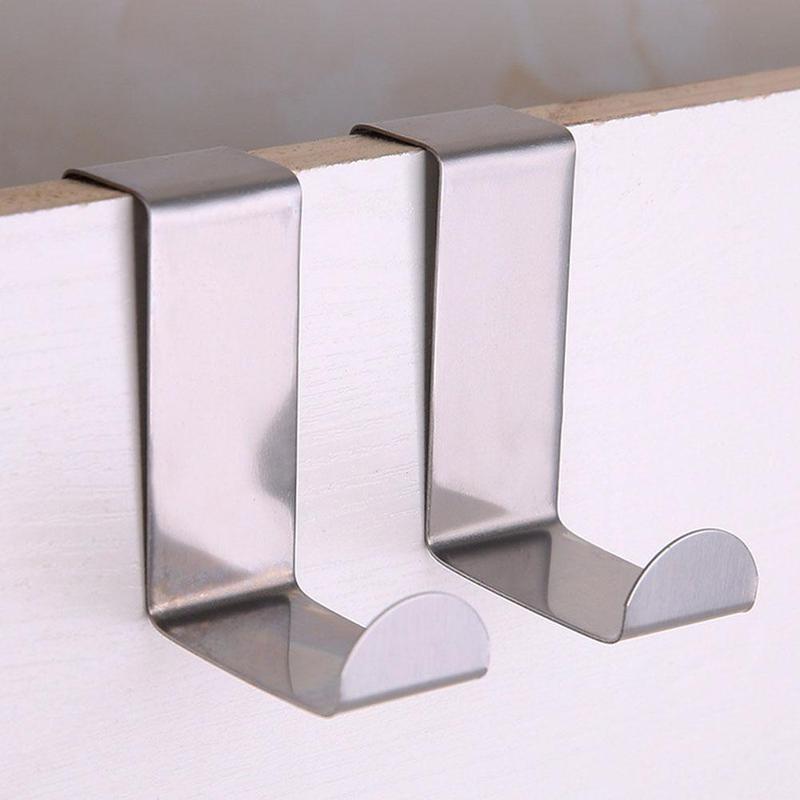 2 Pcs Door Back Multi Function Dual-use Stainless Steel Door Clothes Hook Hanger