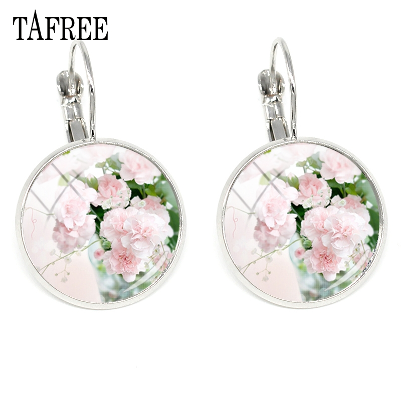 TAFREE Fresh Carnation Clip Earrings Glass Cabochon Handmade Flower Art Picture Silver Color New Fashion Friendship Jewelry KL31