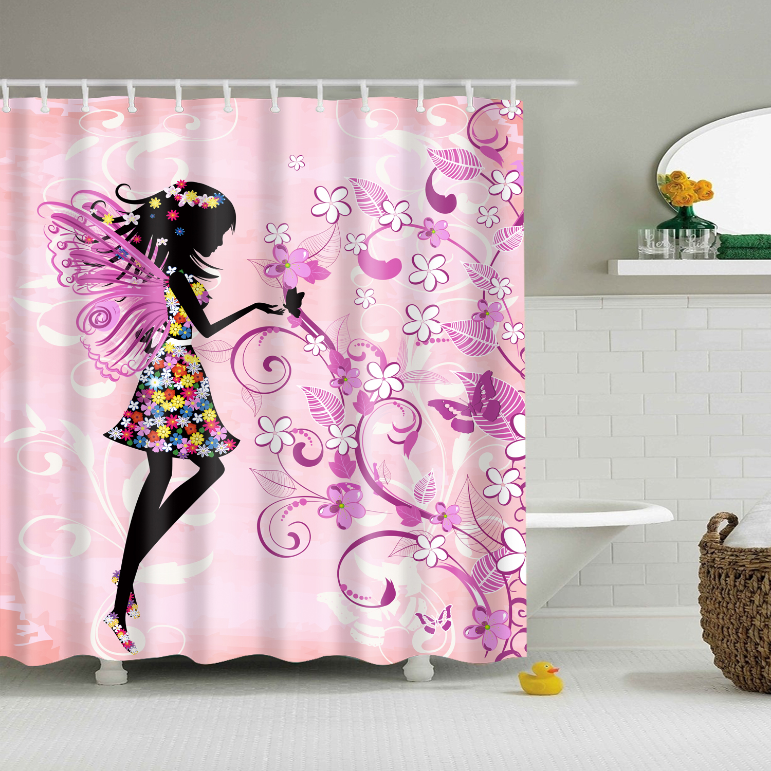 Bathtub Bathroom Shower Curtain Fabric Liner With 12 Hooks Waterproof Mildewproof