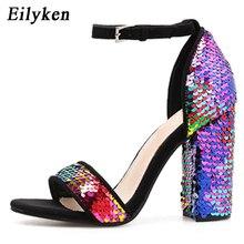 2b46c5f01ba37 Eilyken الصيف أزياء النساء الصنادل مشبك حزام عالية الكعب 10 CM مثير الزفاف  أحذية نسائية بلينغ