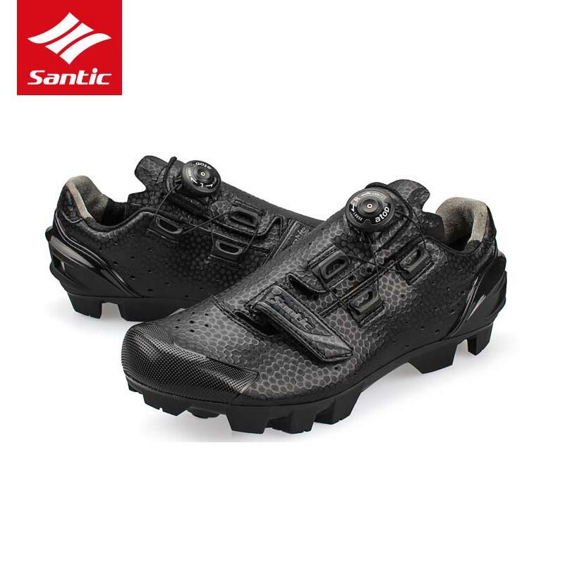 Santic 2018 Cycling Shoes Men MTB Bike Shoes Athletics PU Self-Locking Mountain Bicycle Shoes Sneakers Zapatillas Ciclismo Black