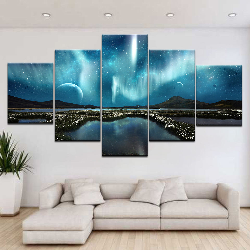 Wall Art Pictures Home Decoration Posters Frame Living Room 5 Panel Lunar Starry Sky Mountain Lake Modern HD Printed Painting in Painting Calligraphy from Home Garden