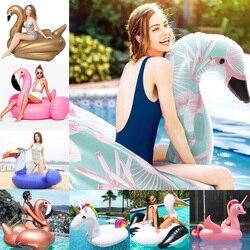 24 Estilo gigante Flamingo unicornio inflable flotador paseo en Swan colchón de aire para bebé y niño y piscina para adultos cubo de hielo de juguete de pelota de fiesta