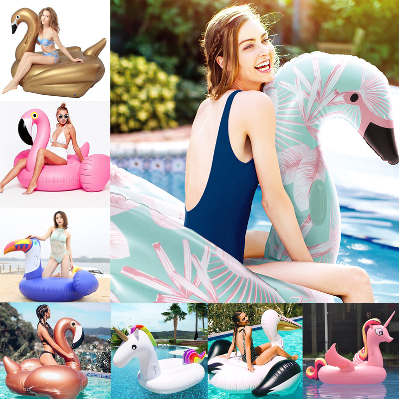 24 Style Giant Flamingo Unicorn Inflatable Float Ride-on Swan Air Mattress For Baby&Child&Adult Pool Party Ball Toys Ice Bucket