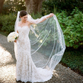 Custom Made Every Color Length Long Cathedral Lace Wedding Bridal Veils Beautiful Edge Wedding Accessories voile mariage