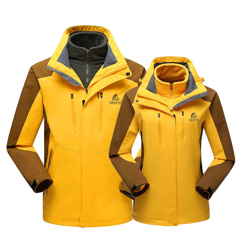 DZRZVD Brand Outdoor Men Women two-piece removable fleece windproof  warm Coat jacket Camping Hiking couples Soft shell jacket