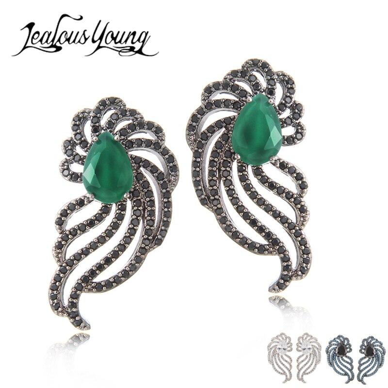Vintage Ethnic Green Water Drop Zircon 2017 Women Drop Earrings For Party Black Earings Jewelery Costume Brincos AE495