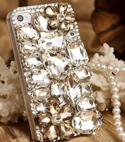Free Shipping 1pcs Lot New Luxury Bling Gem Flower Crystal Rhinestone Case Cover For IPhone 4