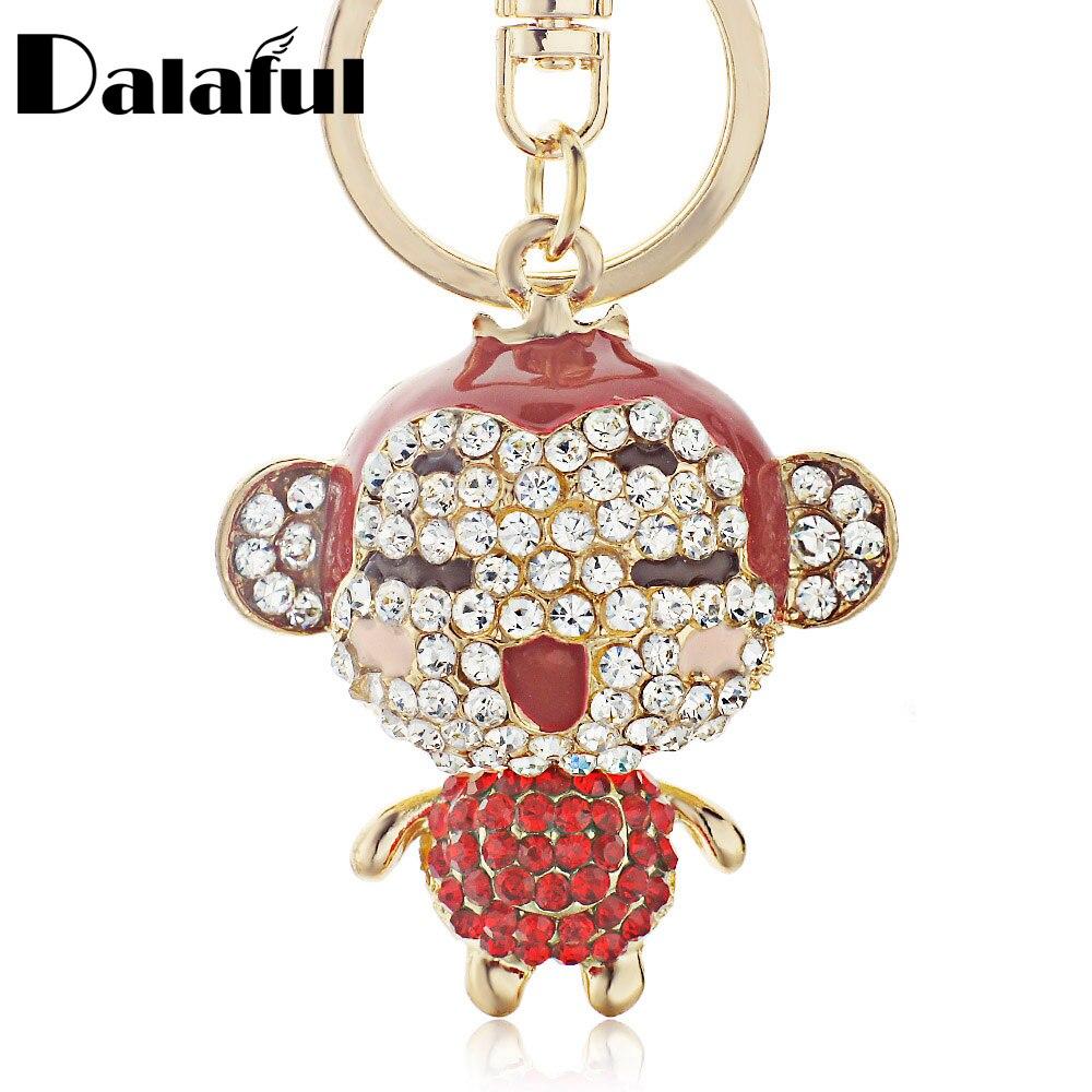 Dalaful Charm Red Enamel Lovely Monkey Crystal key chains holder HandBag Pendant Keyrings Keychains Jewelry K122
